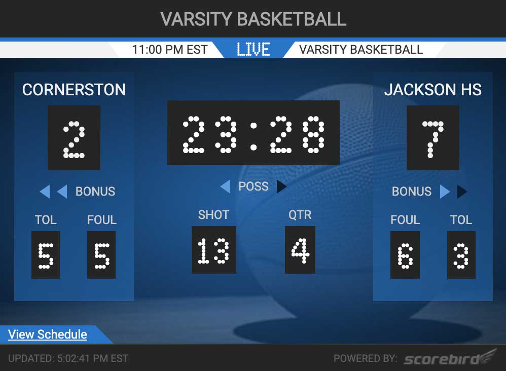 Basketball Scores Web Widget