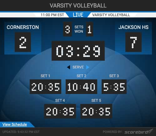 Volleyball Scores Web Widget